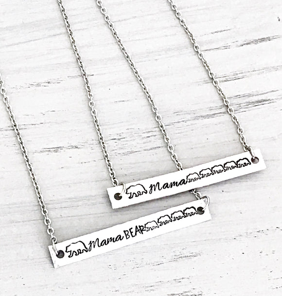CopMama Bear Custom Handstamped Bar Necklace, Mama Bear Jewelry, Jewelry for Mom, Mother's Day Gift, Birthday Gift for Mom, Wife Gift
