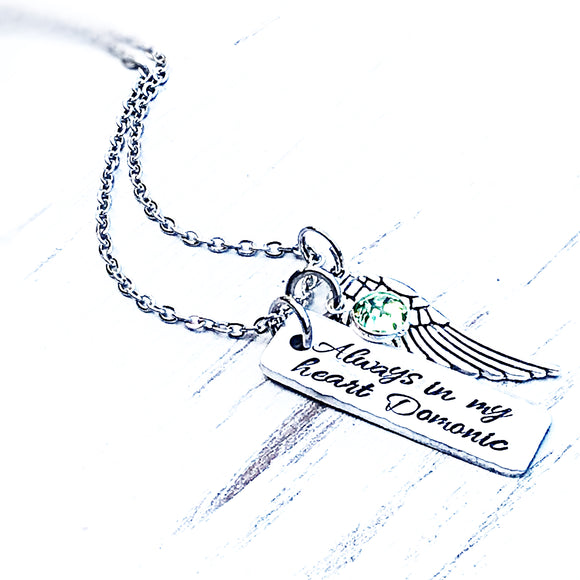 WHOLESALE | 1 piece | Always in my Heart memorial necklace