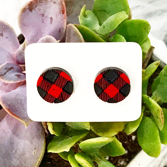 Wholesale | 1 pair | buffalo plaid red acrylic earring studs