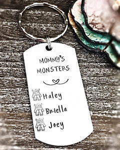 Mommy's Monsters Hand Stamped Personalized Custom Keychain for Mother's Day - Lasting Impressions CT