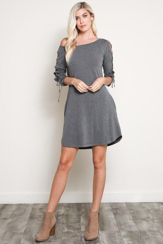 Lace Up Sleeve Accent Dress - Lasting Impressions CT