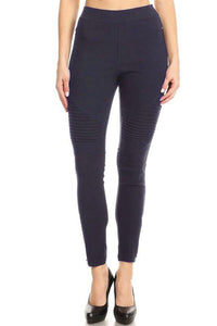 Solid High Waisted Moto Leggings Pants - Lasting Impressions CT