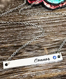 Hand stamped custom bar necklace with name and birthstone - Lasting Impressions CT