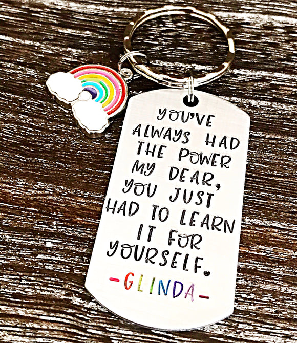 Wizard of Oz Glinda Hand Stamped Keychain