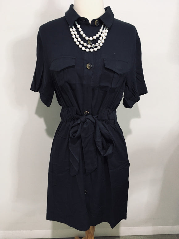 Solid Cinched Waist Button Down Dress - Lasting Impressions CT