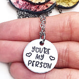 You're My Person Best Friend Grays Anatomy Quote Necklace