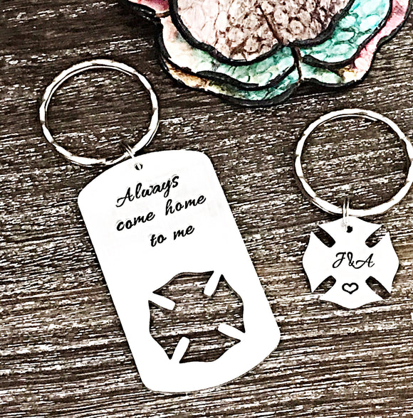 Firefighter Keychain His and Her Handstamped Set - Lasting Impressions CT