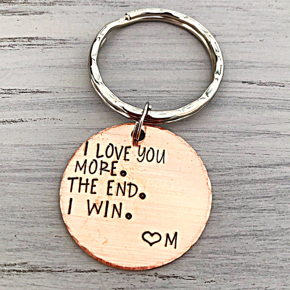 I Love You More Copper 7 Year Anniversary Keychain