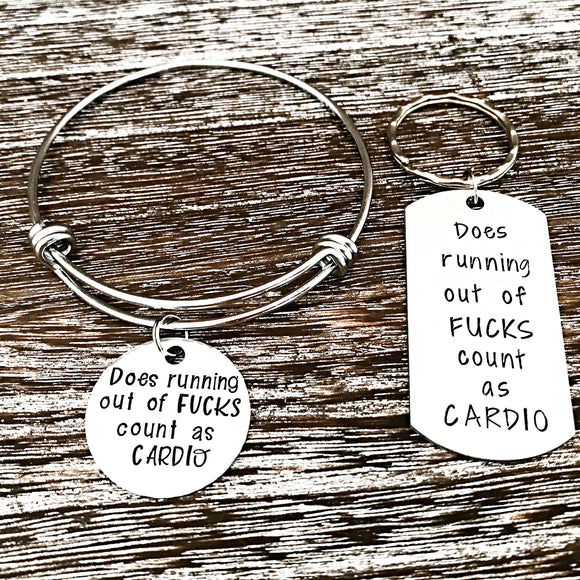 Does Running Out of Fucks Count As Cardio Bangle Charm Bracelet or Keychain - Lasting Impressions CT