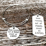 Does Running Out of Fucks Count As Cardio Bangle Charm Bracelet or Keychain