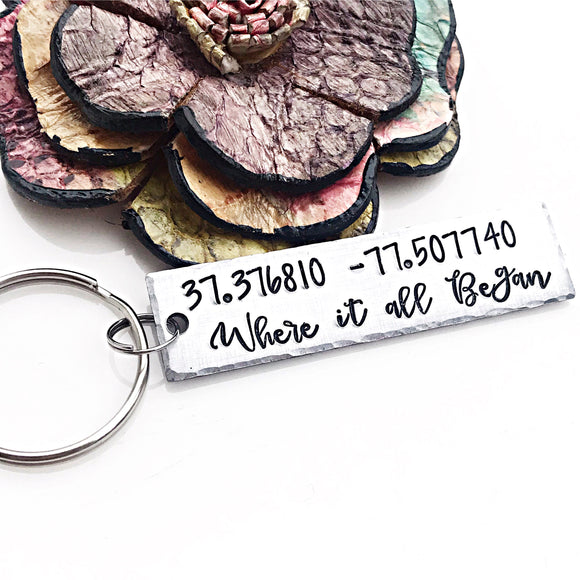 Where it all Began Custom Coordinates Keychain - Lasting Impressions CT