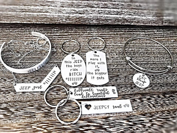 Jeep Lover Jewelry - Jeep Accessories - Jeep Necklace - Jeep Keychains - Jeep Girl - Lasting Impressions CT