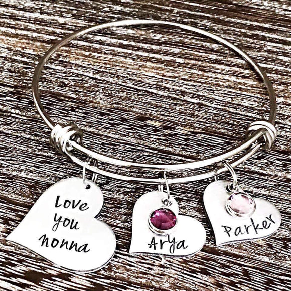 Personalized Charm Bracelet for Nonna, Grandmother Gift, Grandparent's Day Gift, Personalized Grandma Bracelet - Lasting Impressions CT