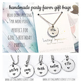 Custom Handstamped Birthday Party Favor Necklaces, Girls Necklaces, Name Jewelry - Lasting Impressions CT