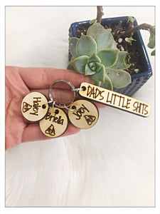 Wholesale | 1 pc | Dad's Little Shits Birch Wood Keychain