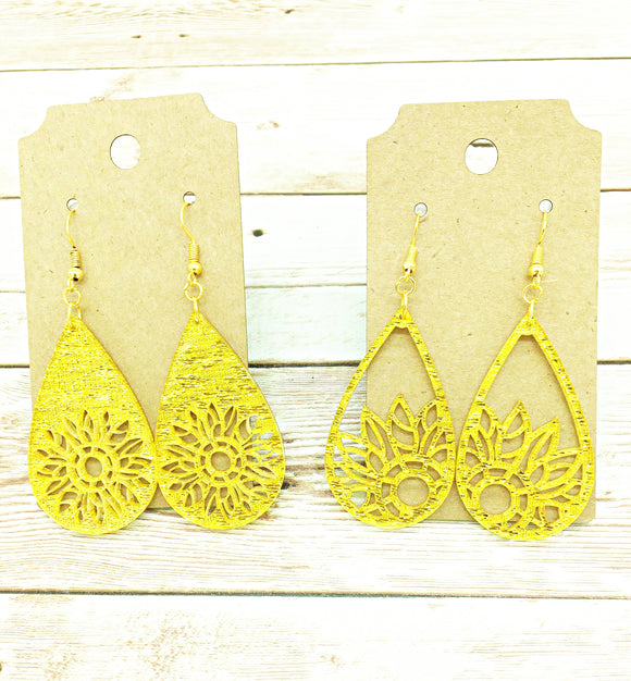 Yellow acrylic sparkle earrings