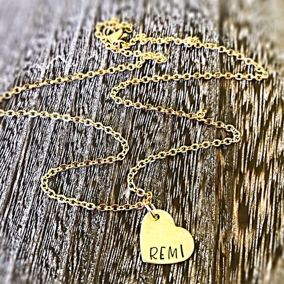 Hand Stamped Personalized Tiny Gold Heart Necklace - Lasting Impressions CT