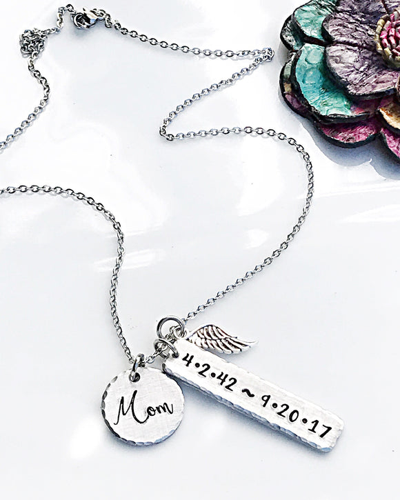 Memorial Necklace for Mom, Personalized Memorial Jewelry, Hand Stamped Gift, Memorial Gift - Lasting Impressions CT