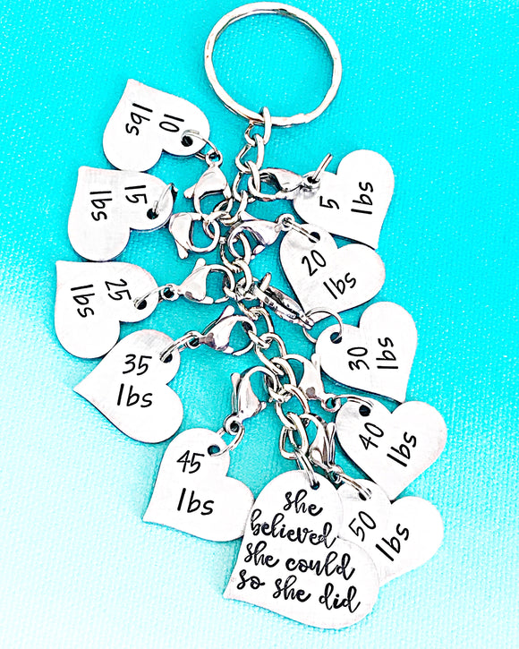 Weight Loss Tracker Handstamped Handmade Keychain, Weight Loss Gift, Weight Loss Charm Keychain - Lasting Impressions CT