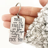 Roses are Red Hand stamped Funny Mature Sexy Valentines Day Keychain - Lasting Impressions CT