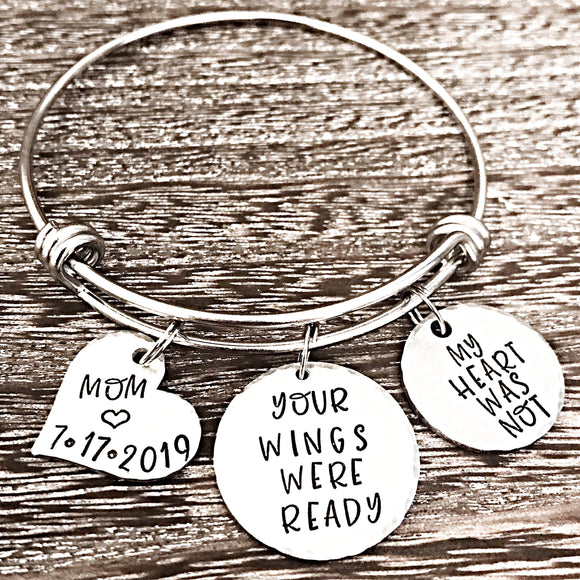 Parent Loss Personalized Hand Stamped Memorial Bracelet - Lasting Impressions CT