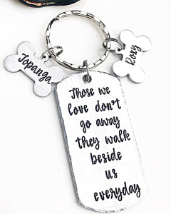 Personalized Hand Stamped Dog Loss Memorial Keychain