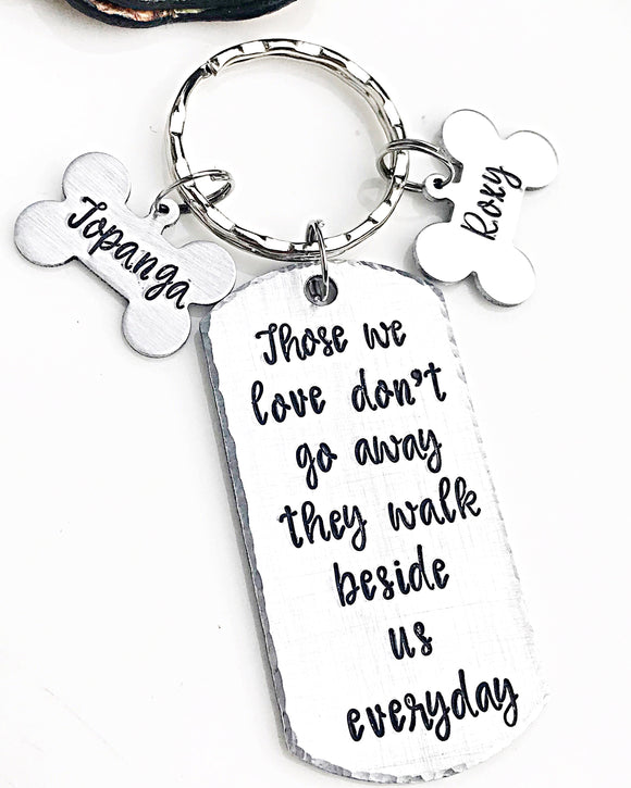 Personalized Hand Stamped Dog Loss Memorial Keychain - Lasting Impressions CT