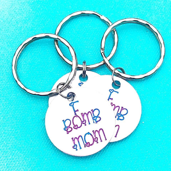 F Bomb Mom Hand Stamped Keychain