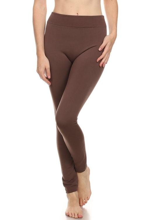 ONE SIZE- FLEECE LEGGINGS- BROWN - Lasting Impressions CT
