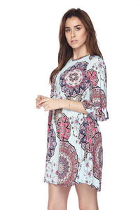 Fushsia Mandala Dress With Bell Sleeves - Lasting Impressions CT