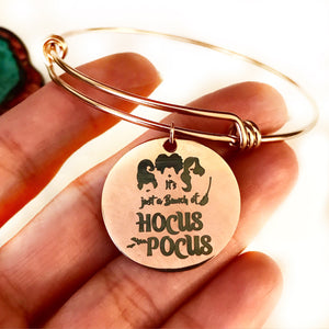 Rose Gold Hocus Pocus Charm Bangle Bracelet