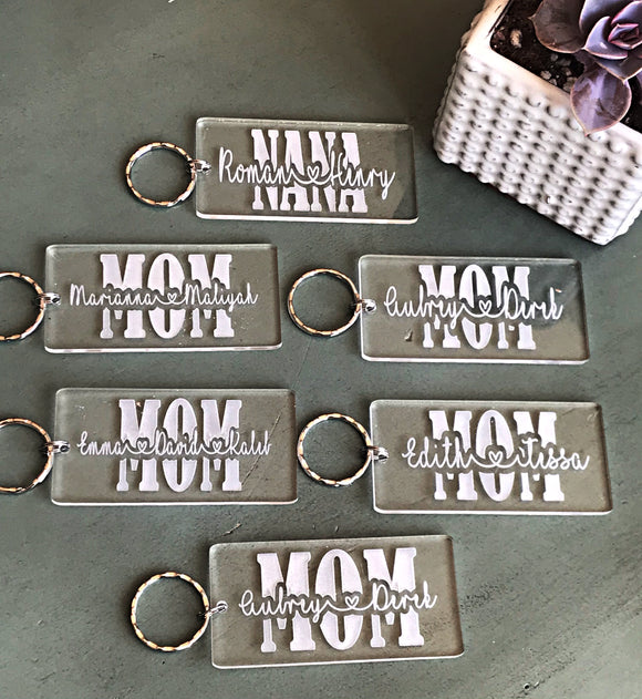 Acrylic Mom Keychain With Names