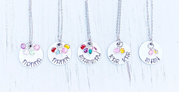 Grandmother Jewelry - Necklaces with custom birthstones