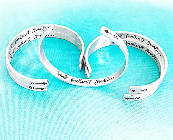 Keep Fucking Going Bracelet - Silver Cuff Bracelet - True Crime Gift - Motivational Cuff Bracelet