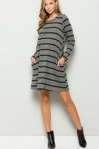 Long Sleeve Round Neck Sweater Dress - Lasting Impressions CT
