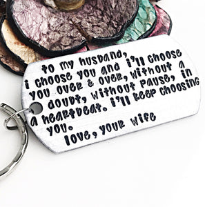 To my husband keychain, Anniversary Gift for Husband, Wedding Gift for Husband, Fiance Gift