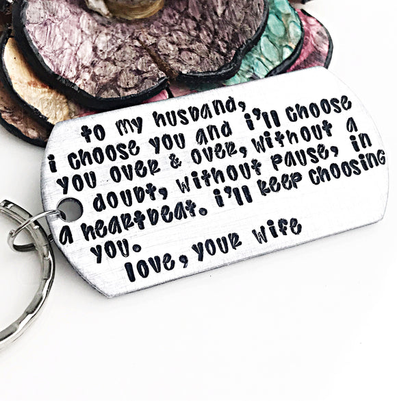To my husband keychain, Anniversary Gift for Husband, Wedding Gift for Husband, Fiance Gift - Lasting Impressions CT