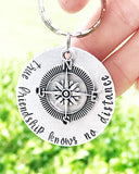 Long Distance Friendship Gift-Hand Stamped Long Distance Best Friend Keychain - Lasting Impressions CT