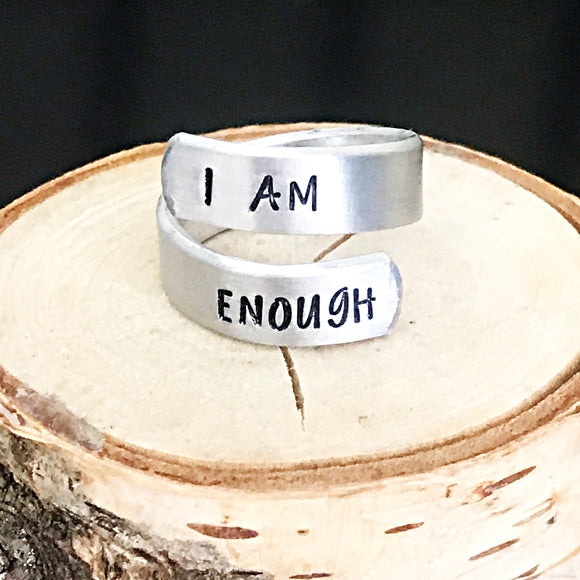 I am Enough Handstamped Wrap Ring