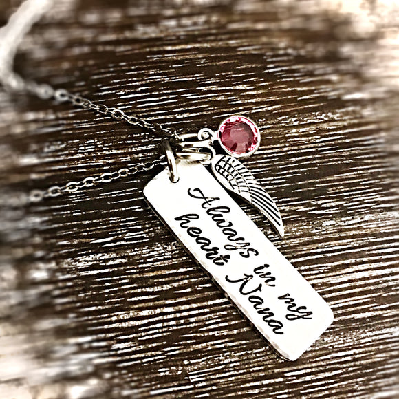 Always in my Heart Memorial Necklace for Loss Of Loved One - Lasting Impressions CT