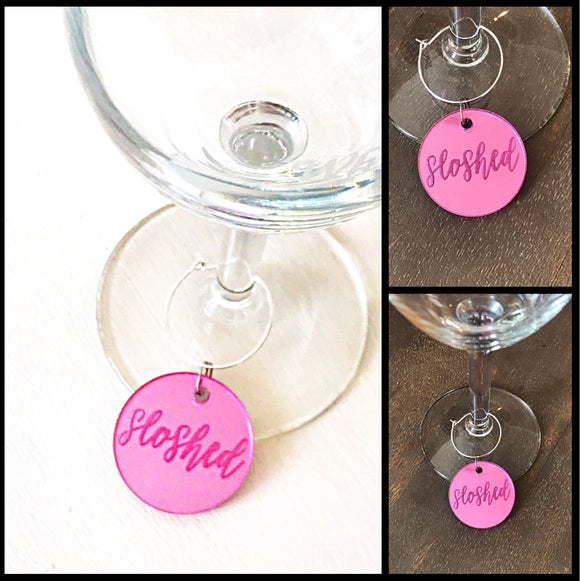 Set of 6 wine charms in mirrored acrylic