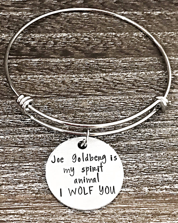 Joe Goldberg YOU Inspired Jewelry I Wolf You Hand Stamped Bangle Charm Bracelet - Lasting Impressions CT