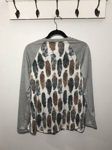 Feather Top With Gray Solid Long Sleeves - Lasting Impressions CT