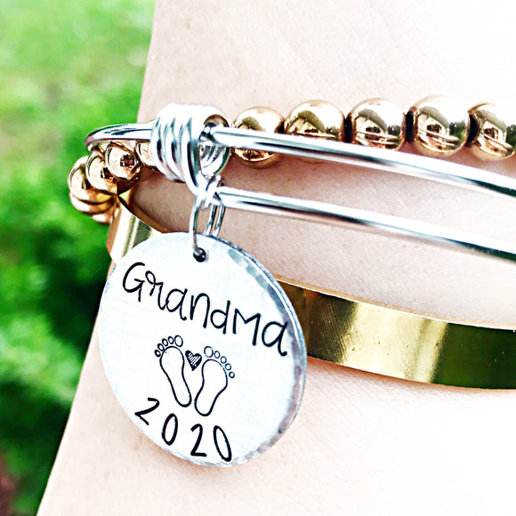 Grandma Bracelet, New Grandma Gift, New Grammy, Grammy Gifts, Grandmother Bracelet, Announcement - Lasting Impressions CT