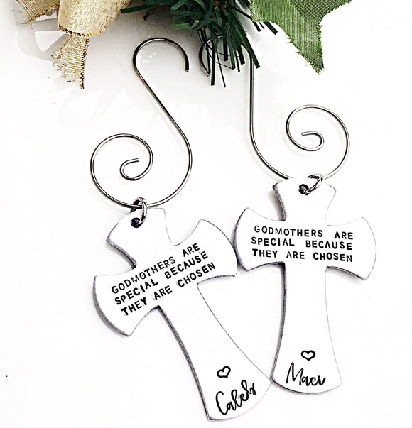 Godmother Cross Christmas Ornament - Godparent Gifts - Lasting Impressions CT