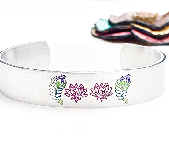 Hand Stamped Lotus and Peacock Feather Colored Cuff Bracelet - Family Cuff
