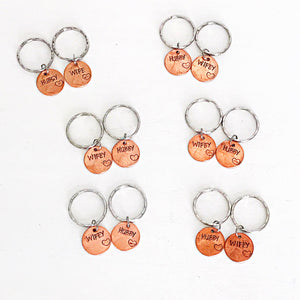 Hand Stamped Personalized Hubby Wifey Penny Keychain SET