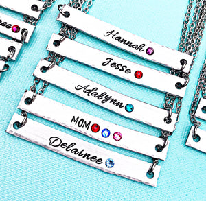 Wholesale | 1 pc | Name Birthstone Bar Necklace