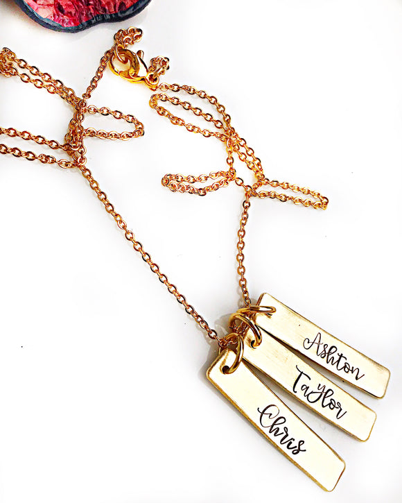 Hand stamped PersonalizedGold Vertical Name Bar Necklace - Lasting Impressions CT
