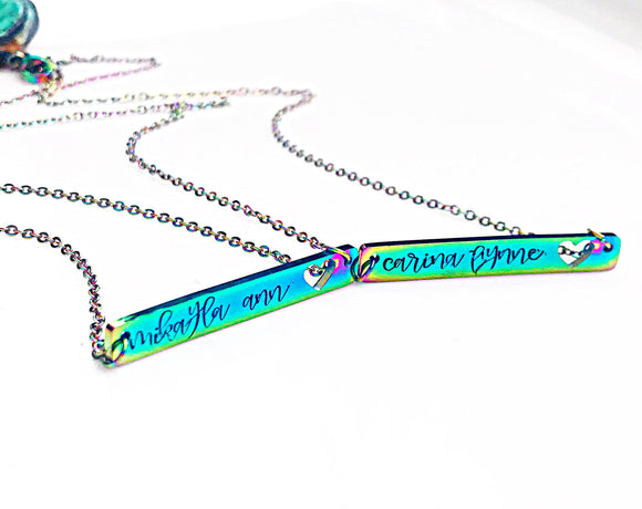 Stainless Steel Rainbow Heart Horizontal Bar Necklace